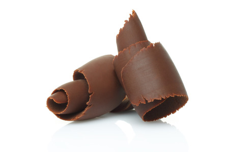 chocolate sweet: Chocolate shavings on white background