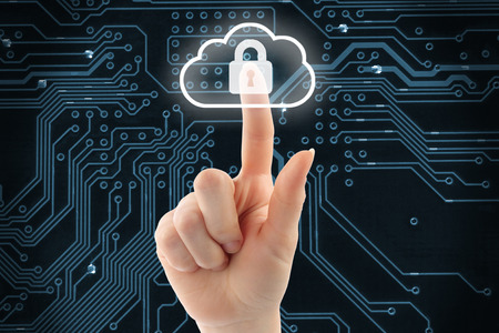 security icon: Hand pushing virtual cloud security button on digital background Stock Photo