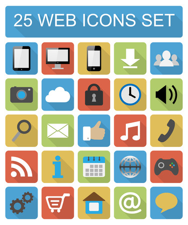 chat icons: Color flat web icons set on white background
