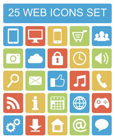 Color flat web icons set on white background Vector