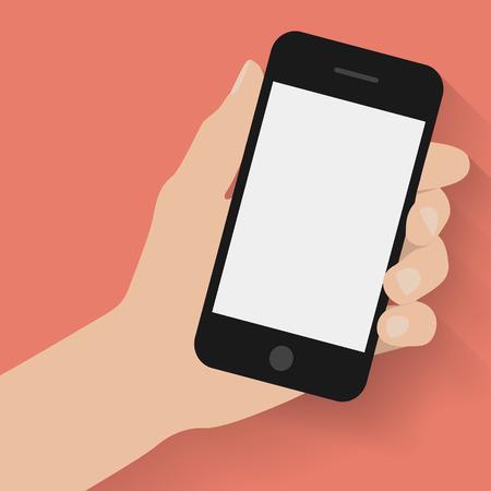 manos: Mano que sostiene el tel�fono inteligente en el fondo rojo. Dise�o plano
