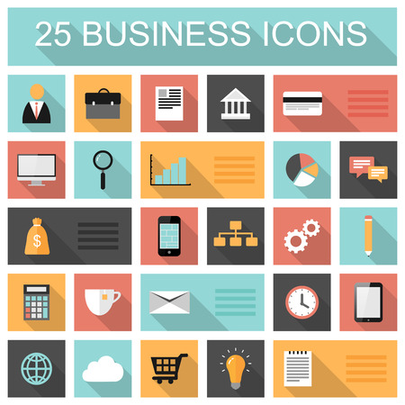 interface design: Flat 25 business and marketing web icons set with long shadows
