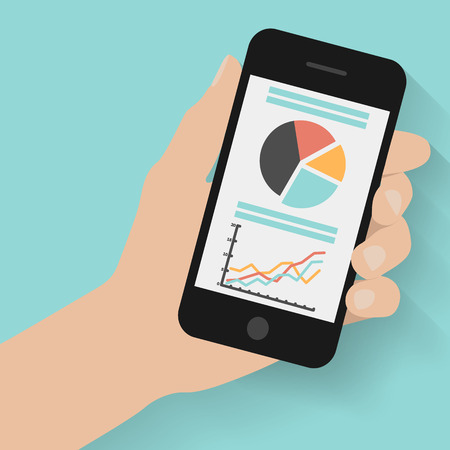 holding smart phone: Hand holding smart phone with graphs on modern background. Flat design
