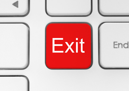 exit button: Keyboard exit button close-up