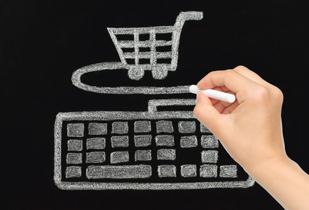 detriment: Hand drawing with chalk keyboard connected to cart, shopping concept Stock Photo