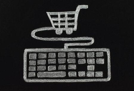super market: Chalk keyboard connected to cart