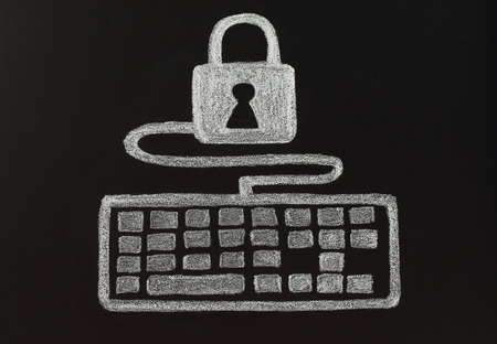 pad lock: Security concept with chalk lock and keyboard, drawn by hand not in photoshop