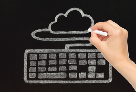 Hand drawing with chalk keyboard connected to cloud, cloud computing concept photo