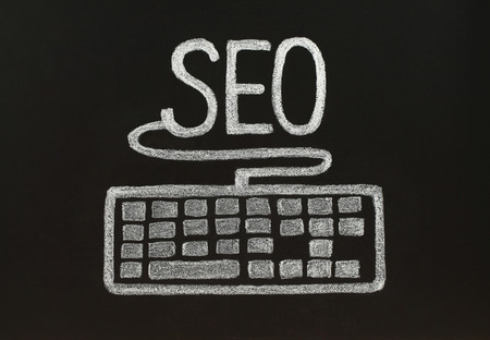backlink: Chalk SEO concept with keyboard, Stock Photo