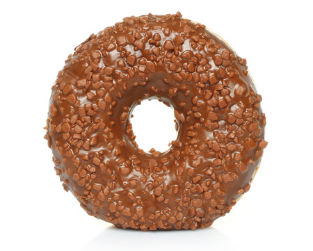donut: Chocolate donut with sprinkles isolated on white background Stock Photo