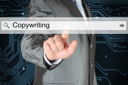 copywriting: Businessman pushing virtual search bar with copywriting word on digital background