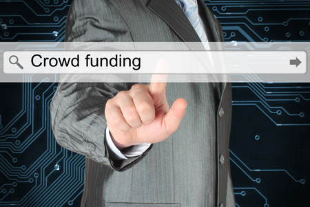 searchbar: Businessman pushing virtual search bar with crowd funding words on digital background