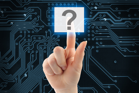 Hand pushing virtual question button on digital background photo