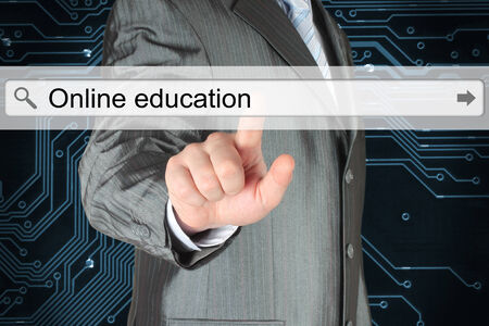 searchbar: Businessman pushing virtual search bar with online education words on digital background Stock Photo