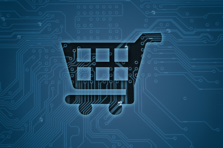 checkout: Shopping cart on digital background