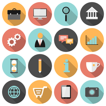 shopping cart icon: Flat round business and marketing web icons set with long shadows