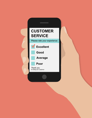 Flat hand holds smart phone with customer service satisfaction survey on red background Ilustração