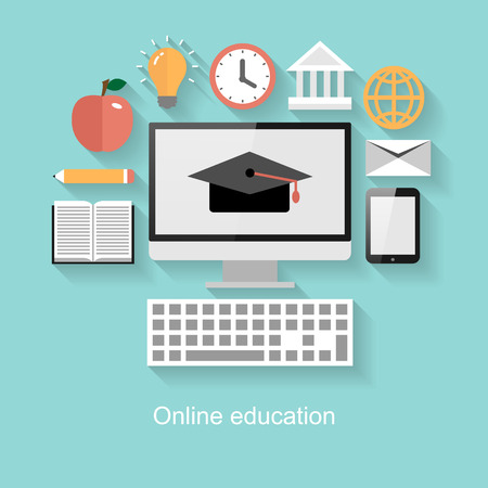 apple computer: Online education concept, flat design with long shadow on turquoise background