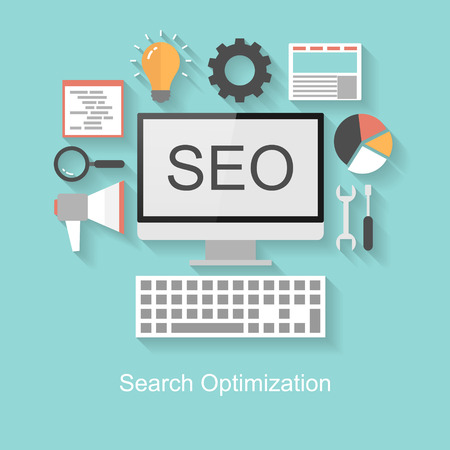 Search optimization concept, flat design with long shadow on turquoise background Illustration