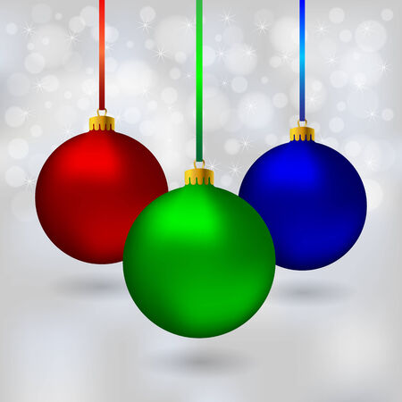 Color Christmas balls on bokeh background Vector