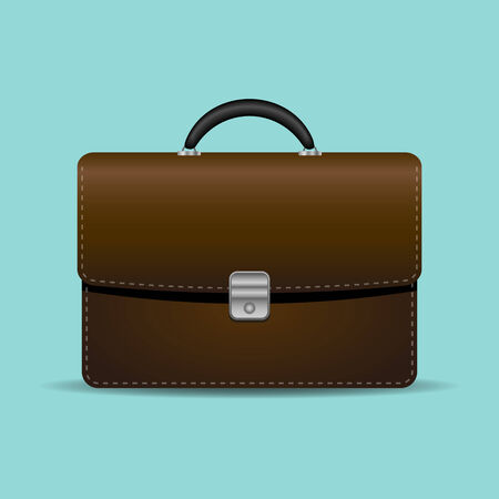 turquiose: Brown briefcase on turquiose background Illustration
