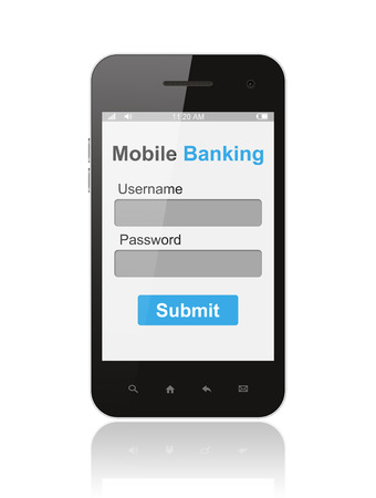 e banking: Smart phone with mobile banking login form ui element on its screen isolated on white background