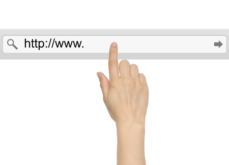 searchbar: Hand pushing virtual search bar on white background, internet concept