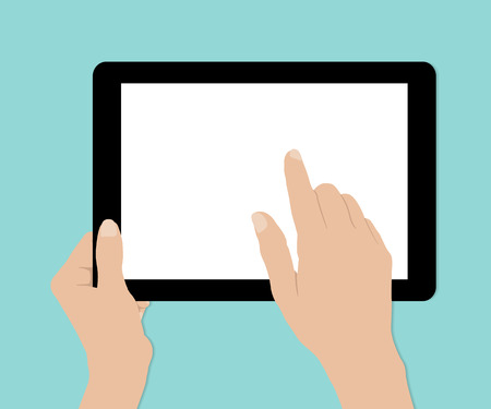 woman tablet: Woman hands hold and touch tablet PC on turquiose background, vector