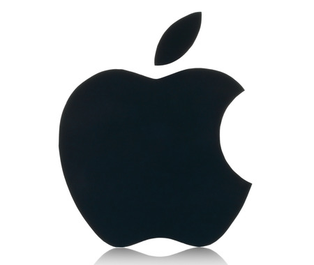 KIEV, UKRAINE - FEBRUARY 05, 2015:Apple logotype printed on paper.Apple is an American multinational corporation, that designs, develops, and sells consumer electronics and personal computers. 新闻类图片
