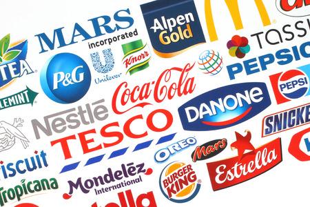 knorr: KIEV, UKRAINE - MAY 07, 2015:Collection of popular food logos companies printed on paper:Coca-Cola, Mars, Kraft, Pepsi, McDonalds, Nestle, Tesco and others