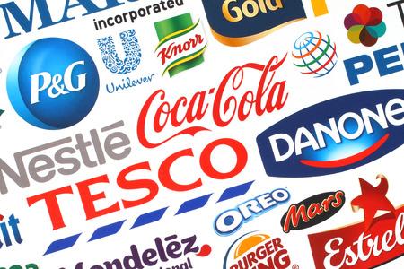 knorr: KIEV, UKRAINE - MAY 07, 2015:Collection of popular food logos companies printed on paper:Coca-Cola, Pepsico, Nestle, Tesco and others