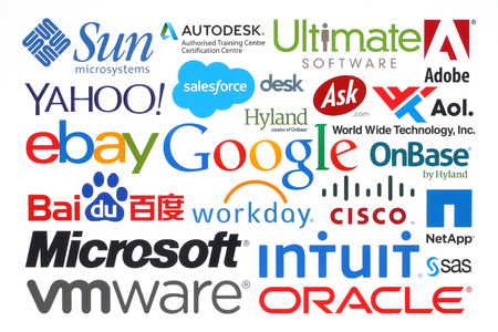 brands: KIEV, UKRAINE - MAY 12, 2015:Collection of popular internet companies printed on paper:Google, Yahoo, Adobe, eBay, Microsoft and others on white background