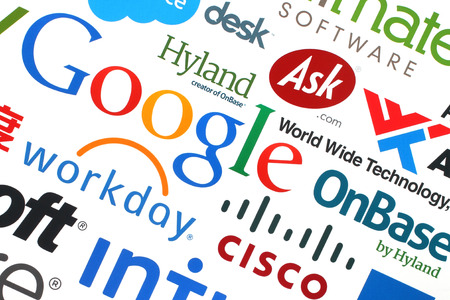 KIEV, UKRAINE - MAY 12, 2015:Collection of popular internet companies printed on paper:Google, Yahoo, Adobe, eBay, Microsoft and others on white background