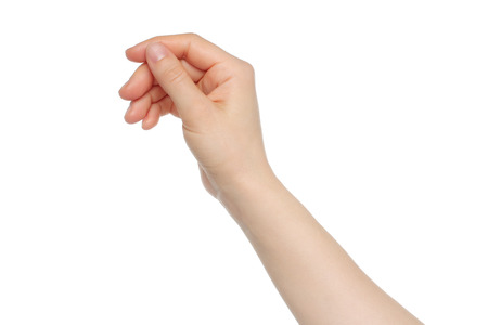 hold: Woman hand like hold charge card on white backround
