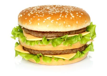 queso blanco: Hamburguesa grande en el fondo blanco