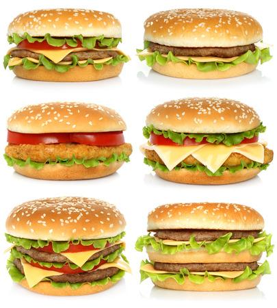 Set of big hamburgers on white background