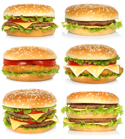HAMBURGUESA: Conjunto de grandes hamburguesas en el fondo blanco