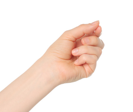 Woman hand like hold charge card on white backround