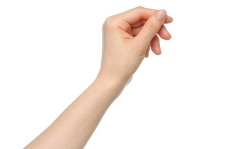 Vrouw hand als greep betaalkaart op wit backround Stockfoto