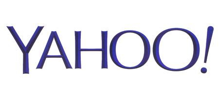 yahoo: KIEV, UKRAINE - MAY 26, 2015:Yahoo logotype printed on paper on white background. Yahoo is a multinational Internet corporation