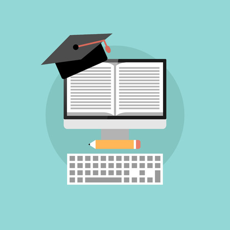 mortarboard: Online education concept, flat design of monitor with book, mortarboard and keyboard with long shadow on turquoise background