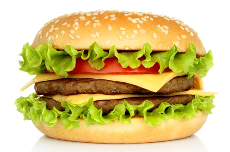 classic burger: Big hamburger on white background