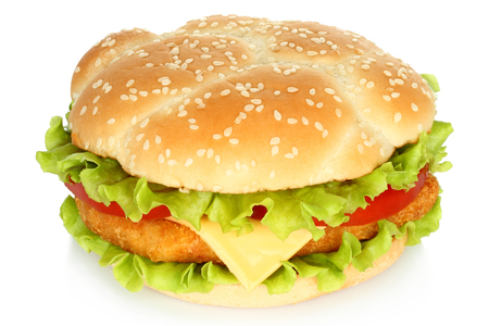 classic burger: Big chicken burger on white background
