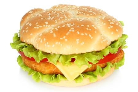 hamburguesa: Hamburguesa de pollo grande en el fondo blanco Foto de archivo