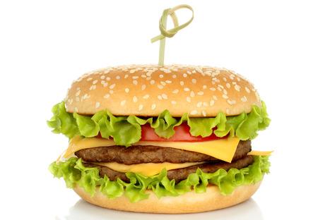 burgers: Big hamburger on white background