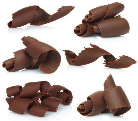 Chocolate shavings set on white background