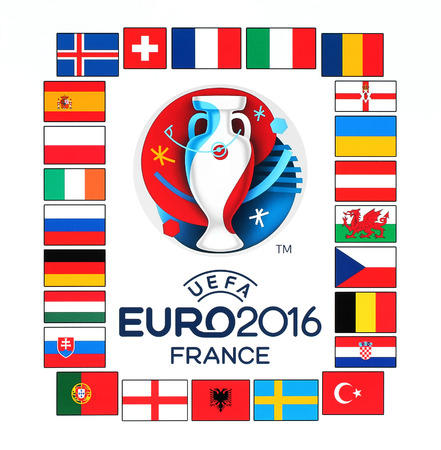 ireland flag: Kiev, Ukraine - January 29, 2016: Official logo of the 2016 UEFA European Championship in France with flags of the countries participants printed on white paper