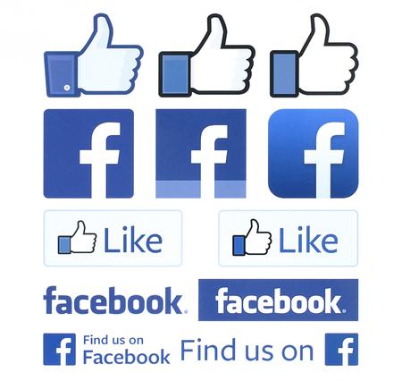 Kiev, Ucrânia - 04 de fevereiro de 2016: Facebook logos e polegares para cima impressos em papel branco. Facebook é um serviço de rede social bem conhecido.