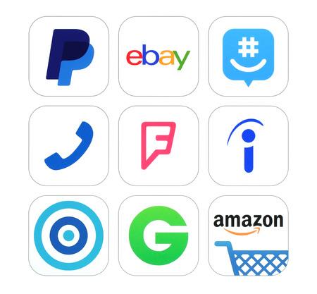 Kijów, Ukraina - 17 lutego 2016: Kolekcja popularnej sieci społecznej, finansów i znaki handlowe, logo drukowane na papierze: PayPal, eBay, GroupMe, Talkaton, Foursquare, Rzeczywiście, Skout i inne