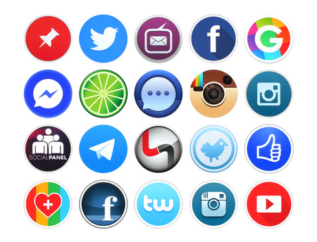 news icon: Kiev, Ukraine - February 19, 2016: Collection of popular round social networking, photo and video icons printed on white paper: Facebook, Instagram, Pinterest, Youtube, Twitter and other